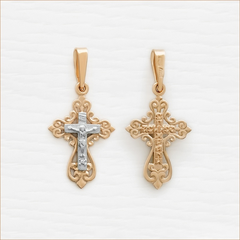 маленький золотой крестик освященный артикул 11964