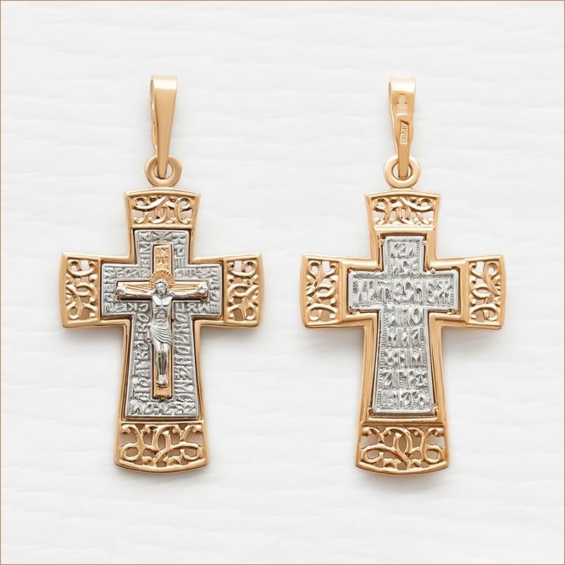 большой золотой крест для мужчины арт.11956