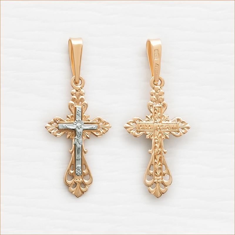небольшой крестик из серебра 925 с позолотой арт.10185
