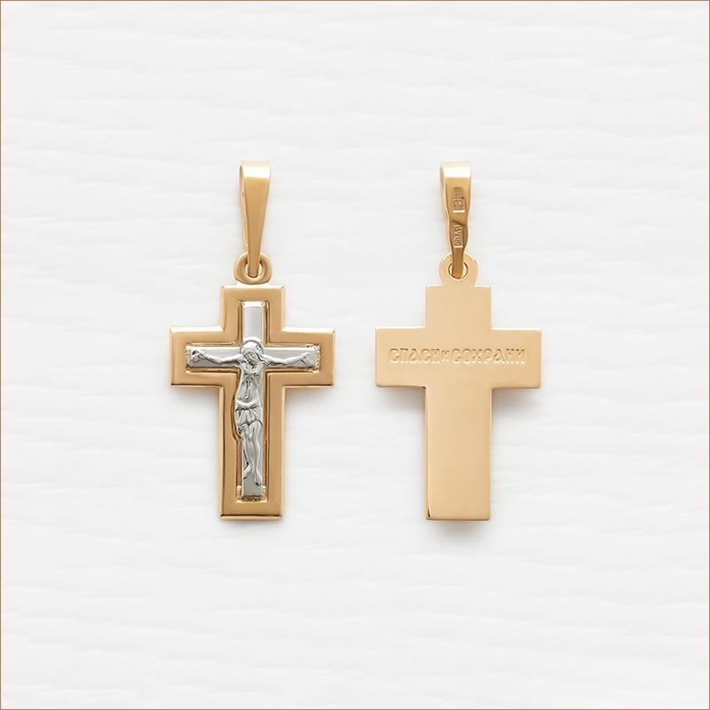 строгий серебряный крестик с позолотой арт.11989