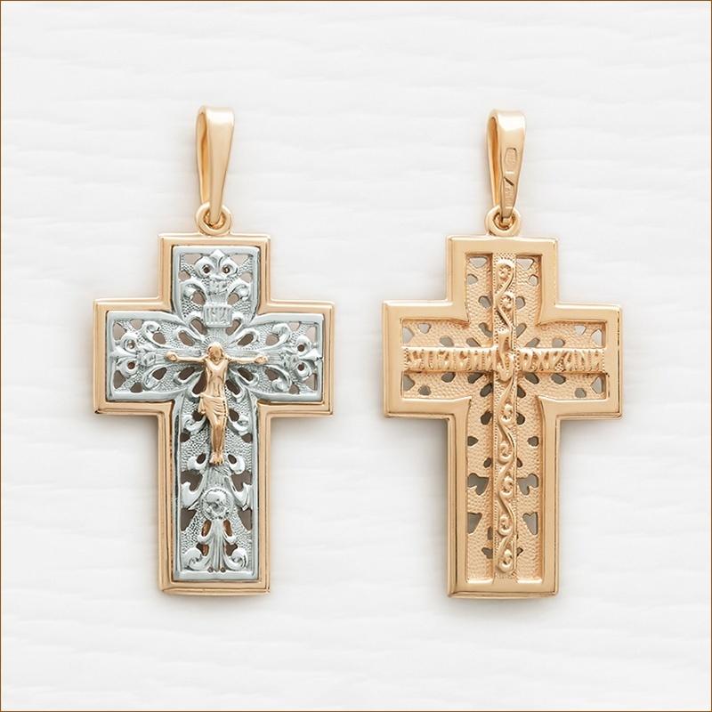 позолоченный крестик мужской арт.12016