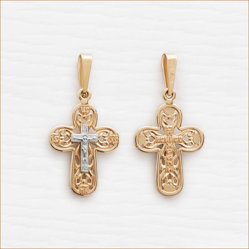 округлый золотой крестик арт.12029 для ребенка