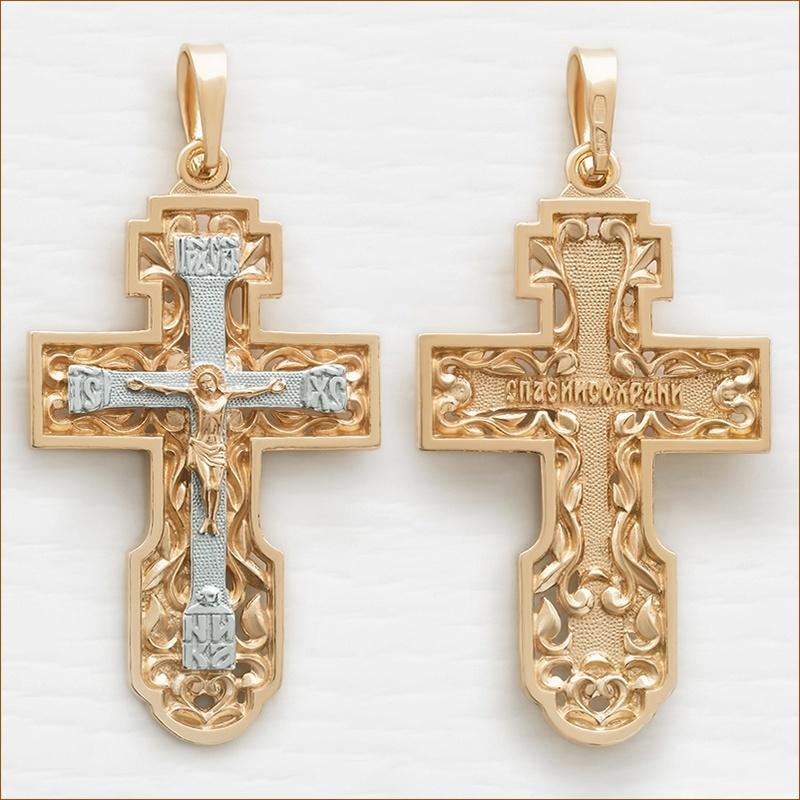большой позолоченный крест из серебра арт.12091 мужской