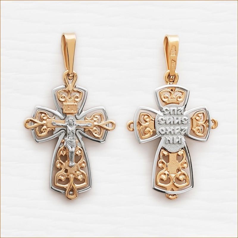 золотой крестик нательный взрослый арт.12549