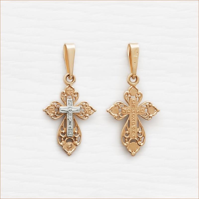 ажурный золотой крест артикул 12689