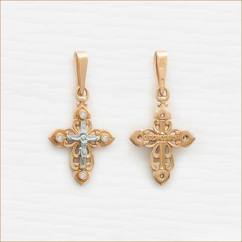 крестик в комбинированном золоте арт.20125