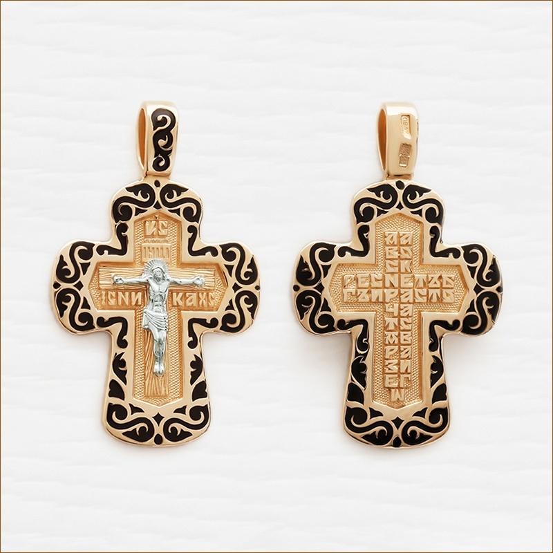 крестик из золота с черной эмалью, мужской