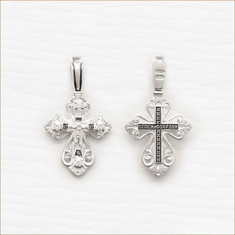 серебряный крестик арт.03074 с фианитами