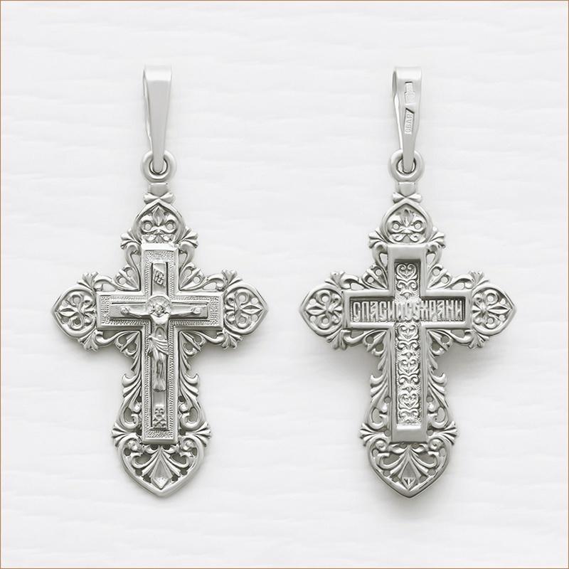 красивый резной серебряный крест арт.11424