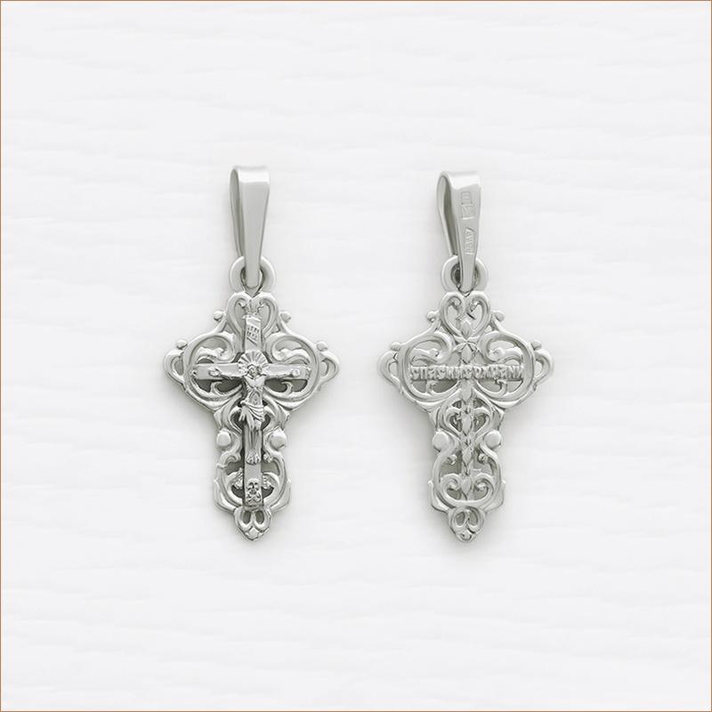 ажурный крестик из серебра арт.11425