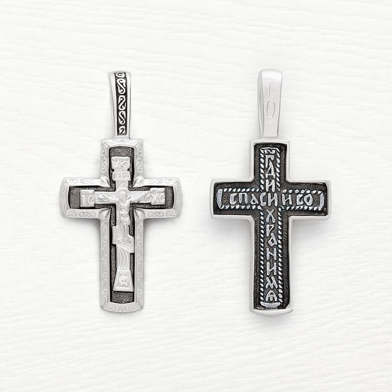 серебряный крестик с чернением арт.03275