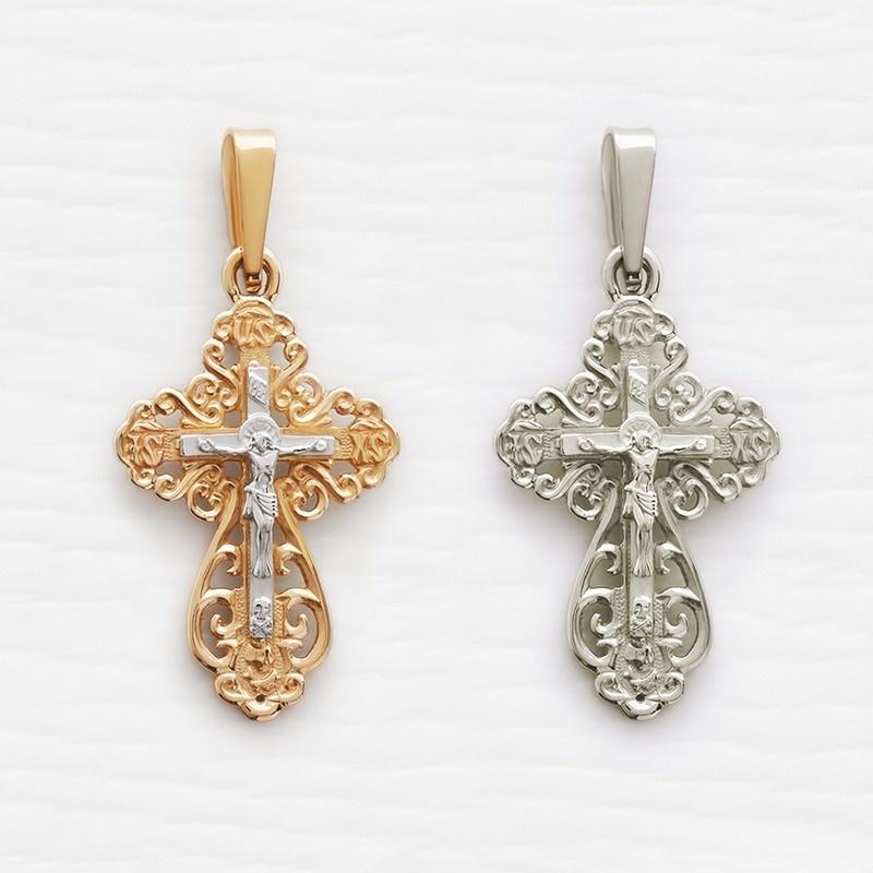 ажурный литой крестик из белого или комбинированного золота арт.11164