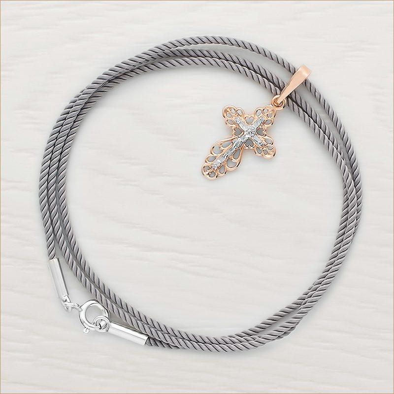 золотой крестик арт.10327 и серый шелковый шнурок для крестика