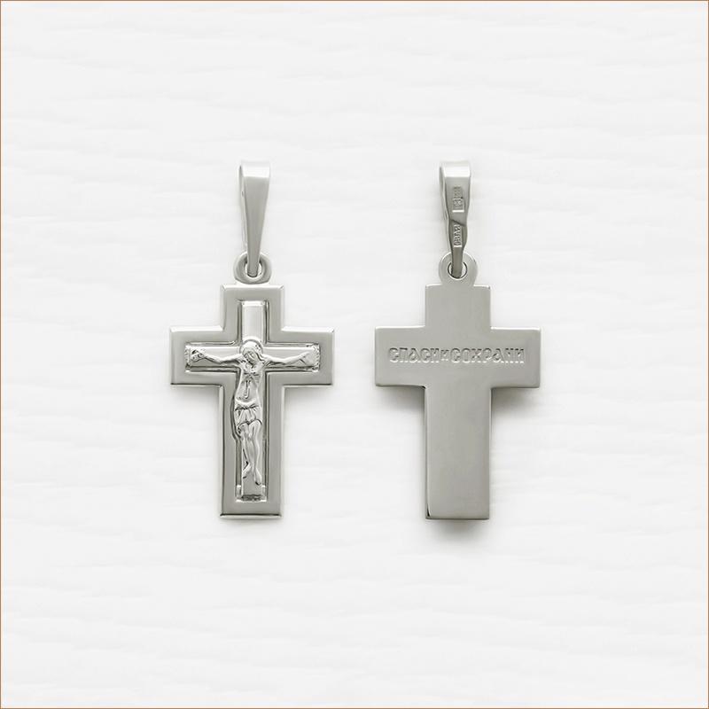 строгий серебряный крестик арт.11989