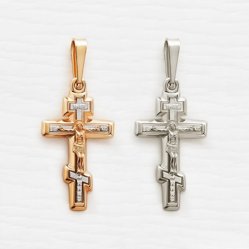 православный нательный крестик классический арт.12141 красное и белое золото