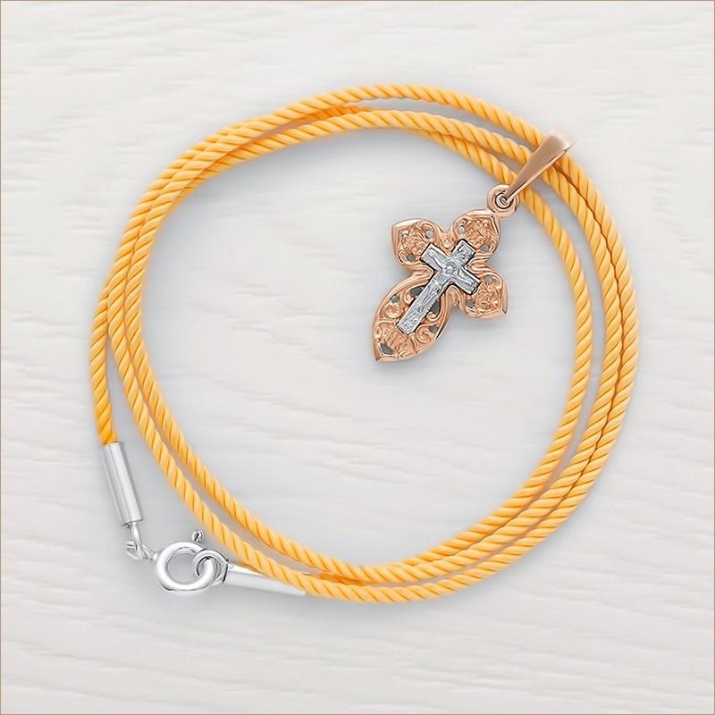 комбинированный золотой крестик 11979 и желтый крученый гайтан с серебряной застежкой