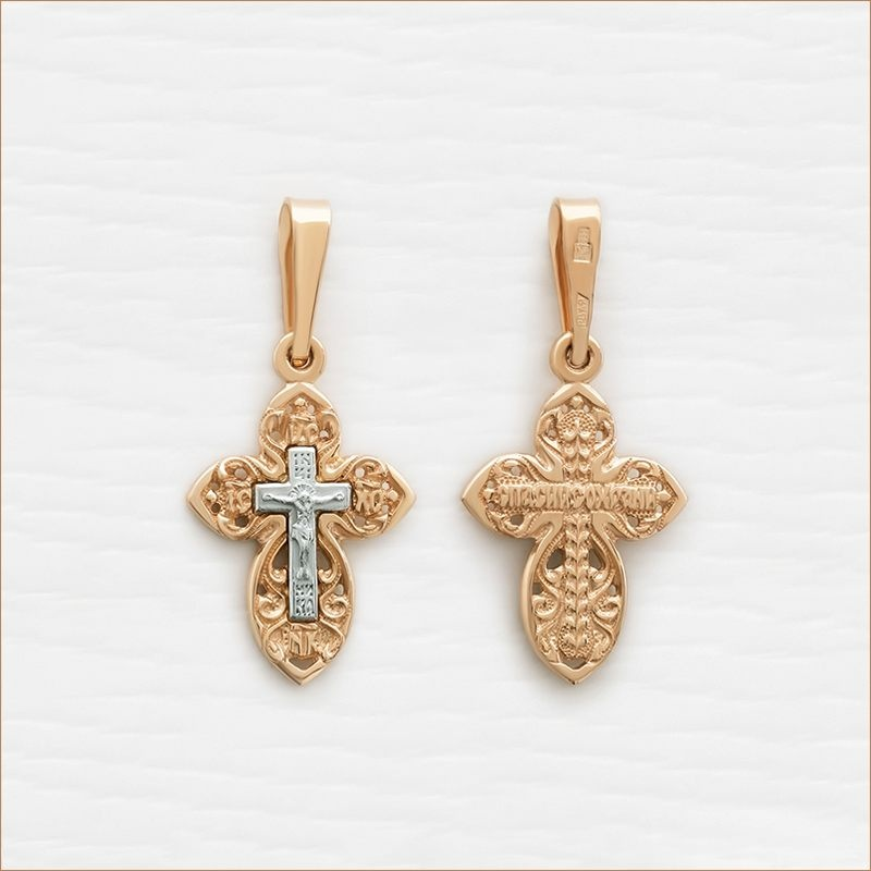 золотой крестик с распятием из белого золота арт.11979