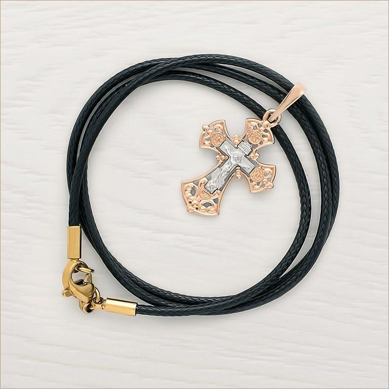 золотой крестик арт.20125 и каучуковый гайтан для крестика