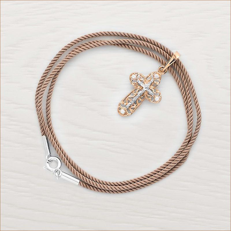 шелковый крученый гайтан с серебряной застежкой и золотой крестик арт.20474