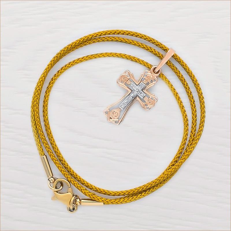 золотой крестик арт.11997 и золотистый гайтан для крестика