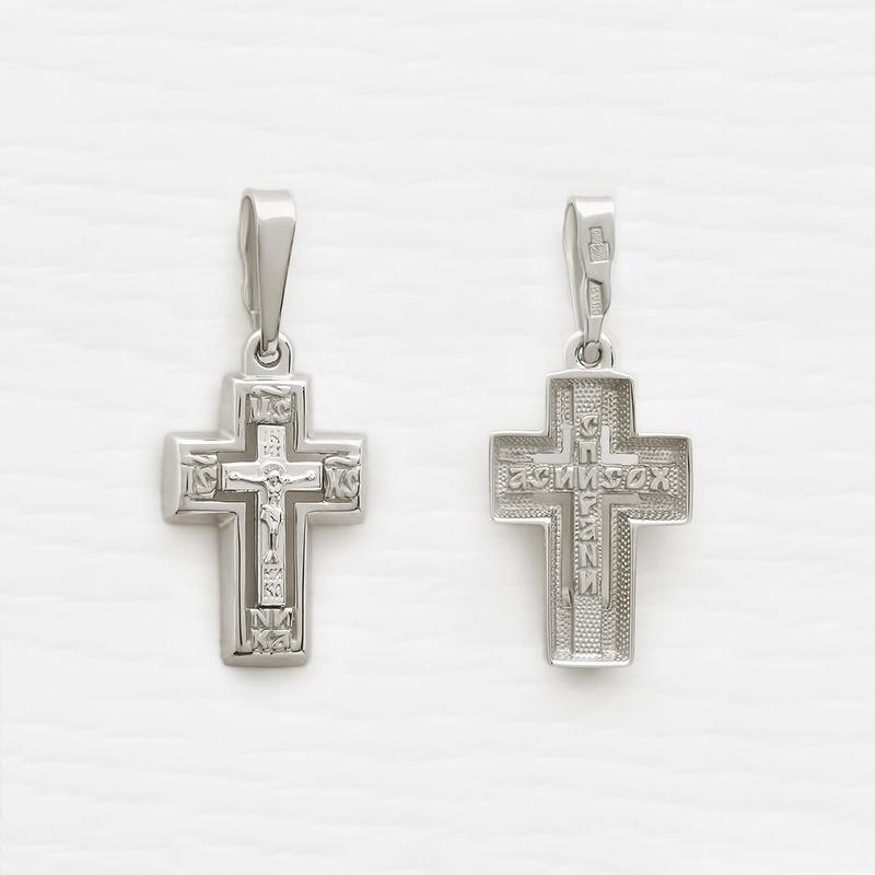 крестик 12538 в белом золоте