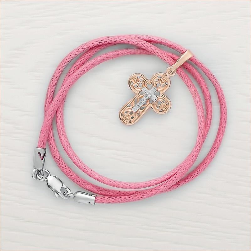 золотой крестик 12029 и розовый гайтан с серебряной застежкой