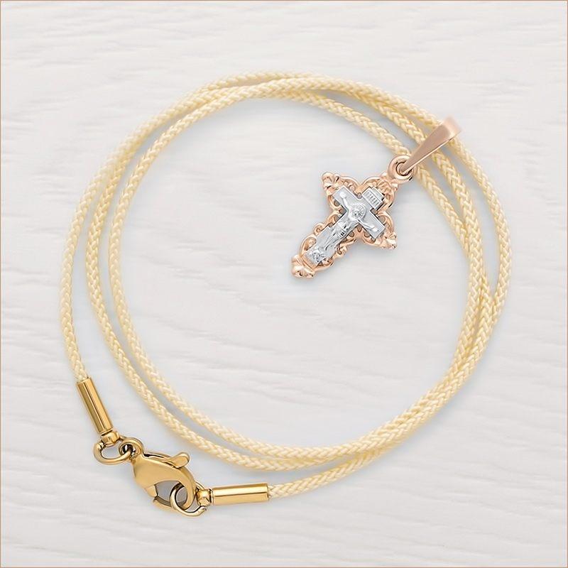 золотой крестик арт.11154 и гайтан для крестика цвета слоновой кости