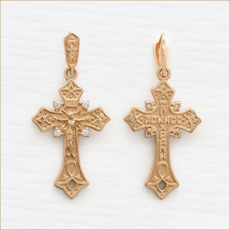 золотой крестик с фианитами арт.35043