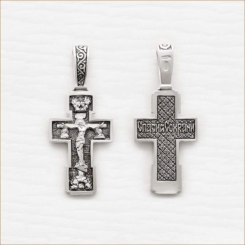 серебряный крестик для мальчика арт.03037