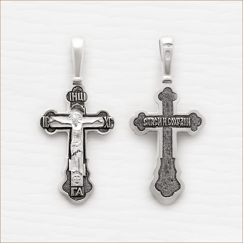 вытянутый серебряный крестик арт.03222
