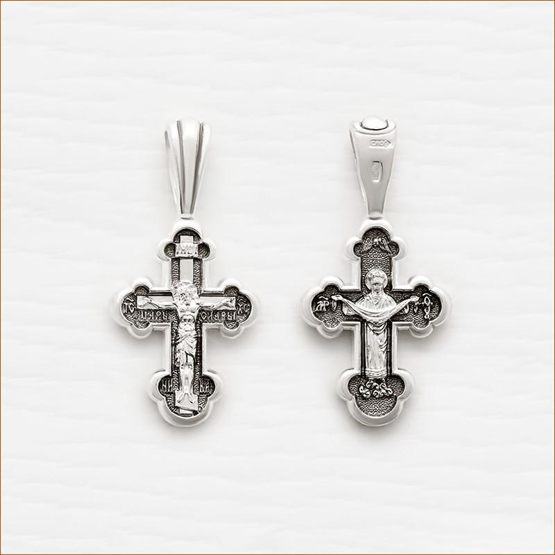серебряный крестик с чернением арт.18010