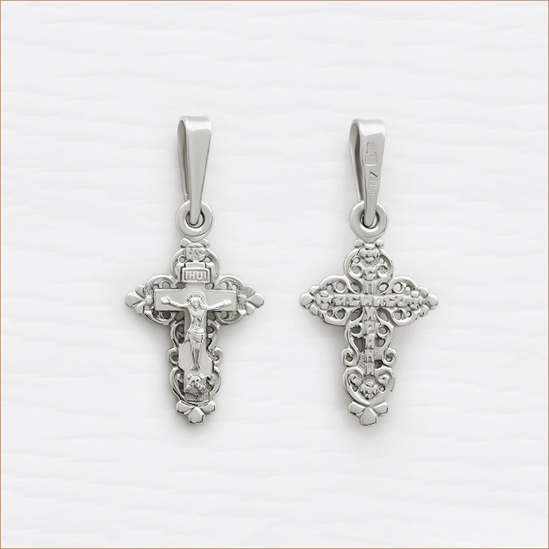 красивый серебряный крестик для ребенка арт.11154
