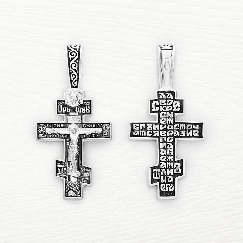 серебряный крестик с чернением арт.03052