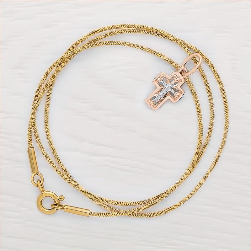 золотой крестик арт.14608 и золотистый гайтан для крестика
