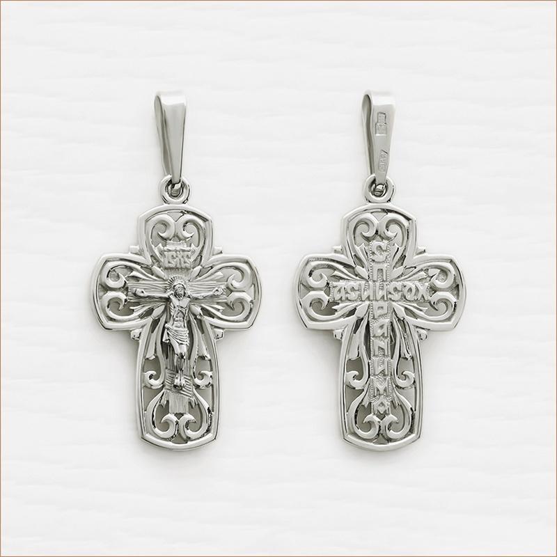 серебряный крест для взрослого арт.12012
