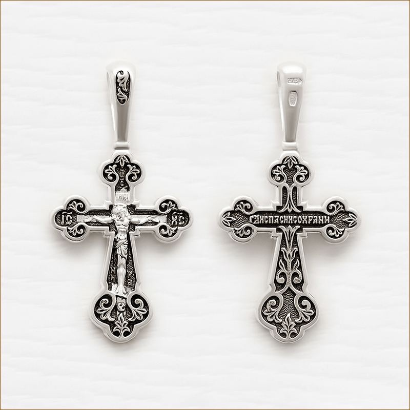 серебряный крестик с чернением арт.18080