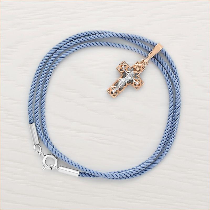 золотой крестик арт.11822 и серо-голубой гайтан для крестика