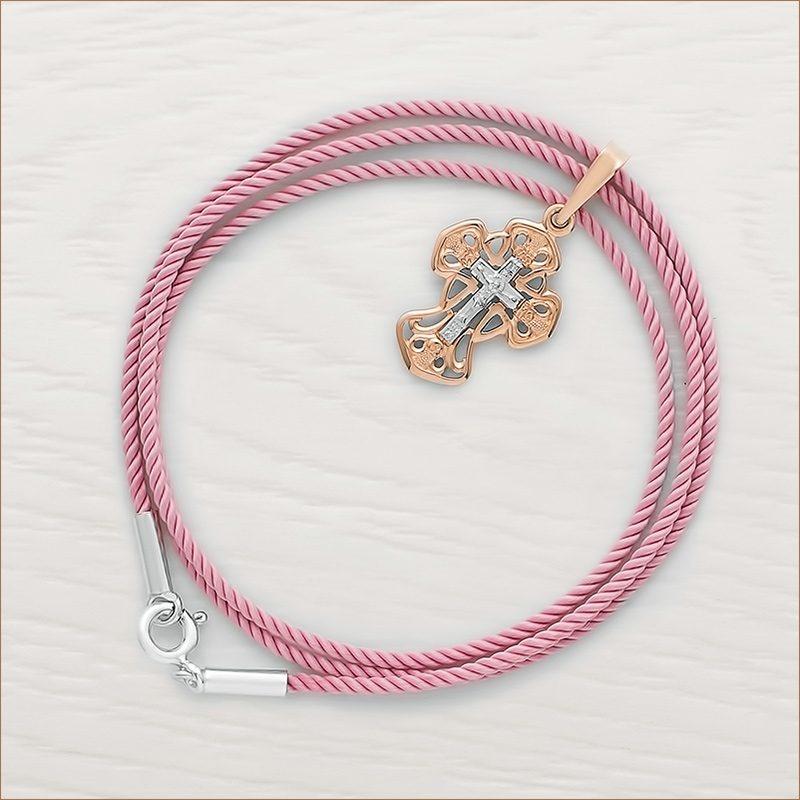 золотой крестик арт.11983 и розовый гайтан для крестика