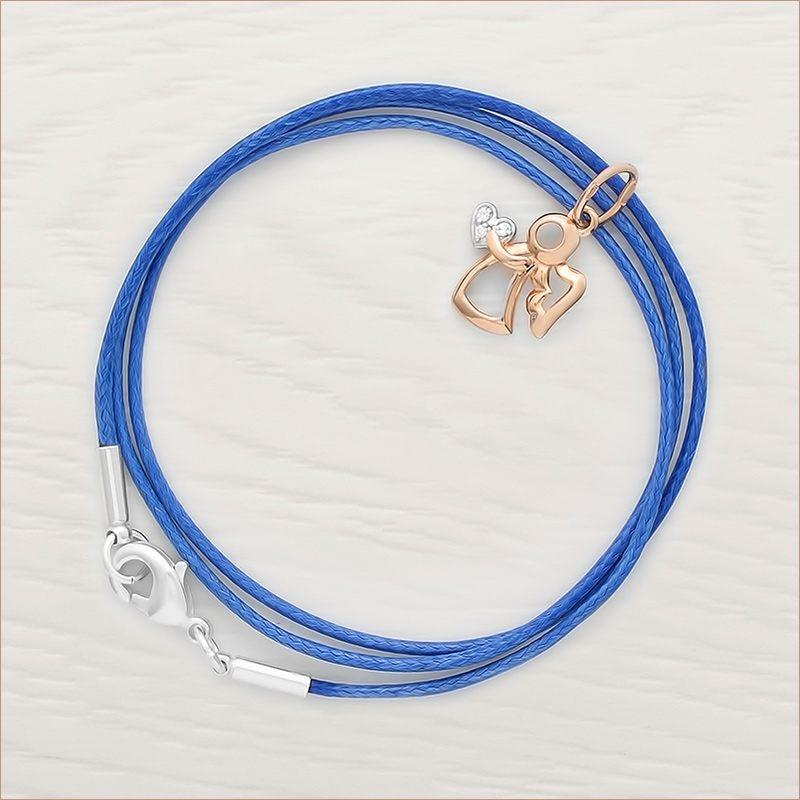золотая подвеска ангелок с фианитом и синий гайтан с серебряной