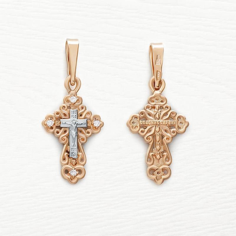 Золотой крестик с фианитами арт.20476