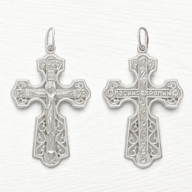мужской ажурный серебряный крест арт.35192
