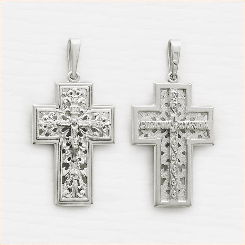 большой серебряный крест арт.12016