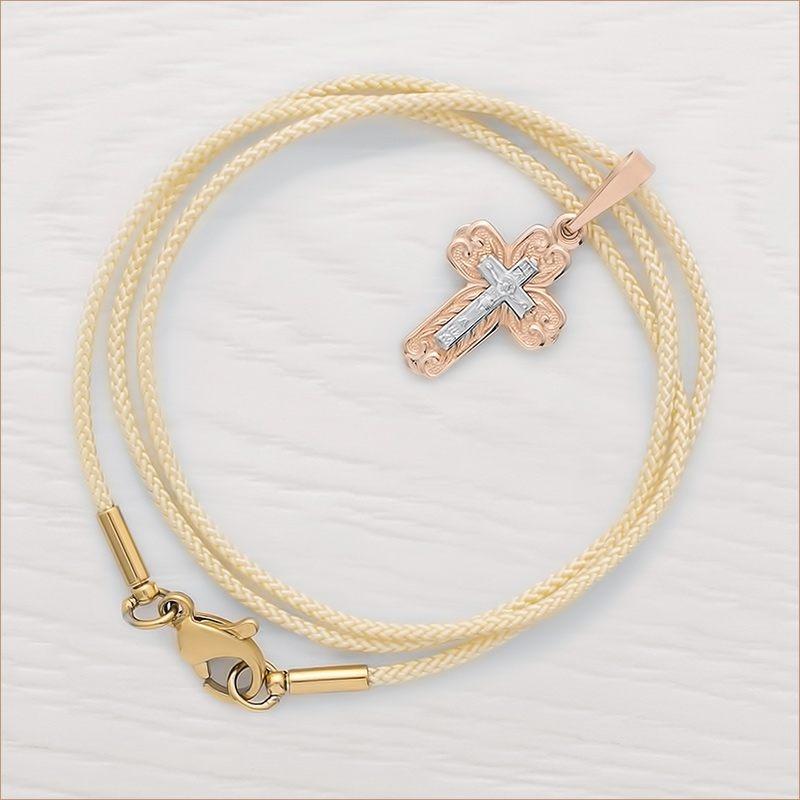 золотой крестик арт.12030 и гайтан для крестика