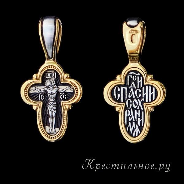 крестик серебро с позолотой елизавета 08073