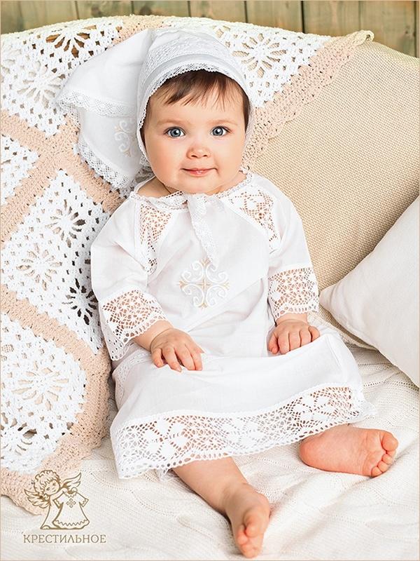 чепчик-косынка и крестильная рубашка для девочки