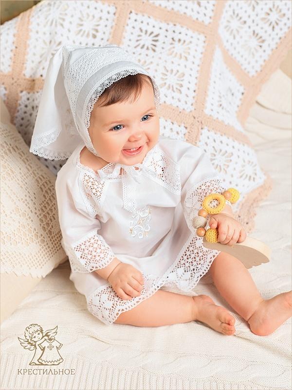 чепчик-косынка и рубашка для крещения Ольга