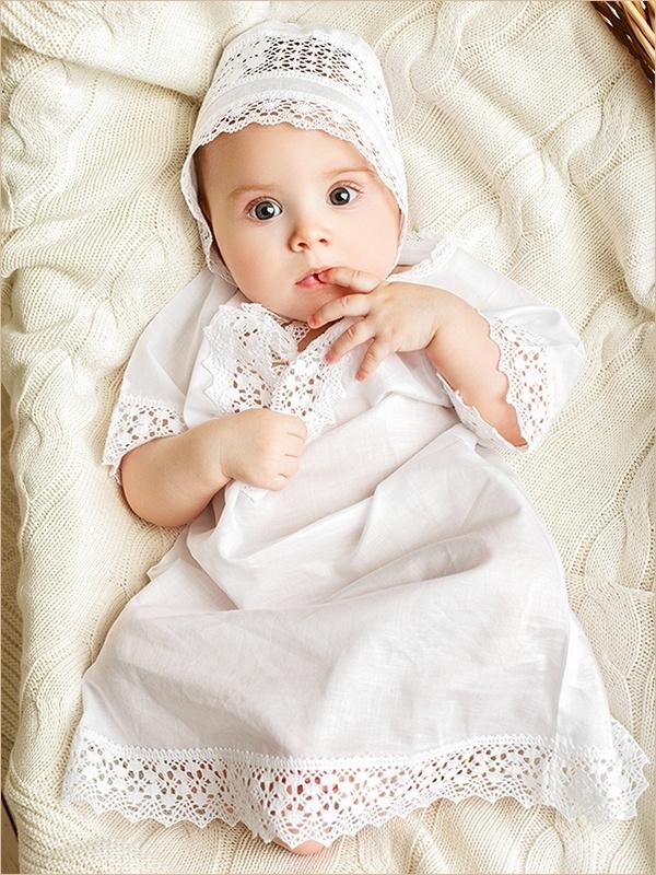 нежная крестильная рубашка для девочки
