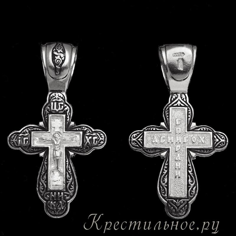 серебряный крестик елизавета 03197