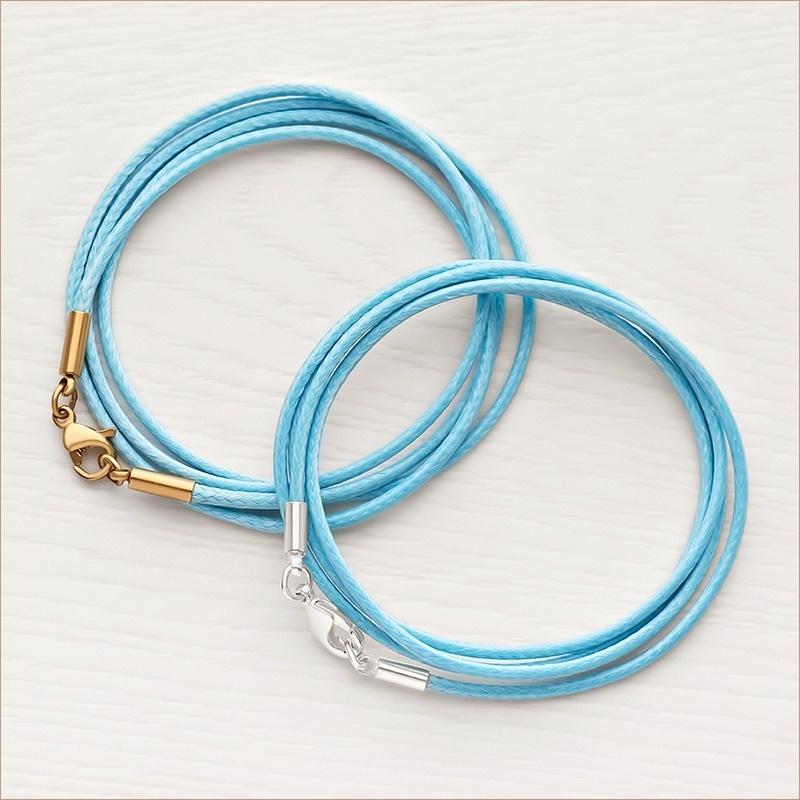 универсальный 2 мм гайтан для крестика, цвет голубой