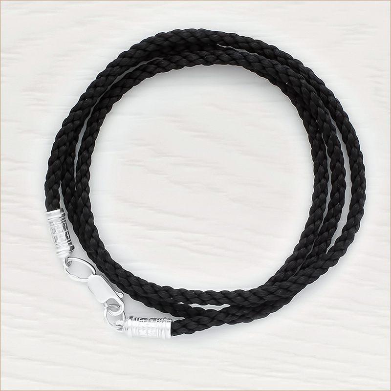 Гайтан черный шелковый витой с серебряной застежкой арт.ММ-73